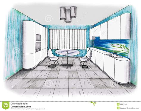 croquis cuisine croquis graphique une cuisine illustration stock image