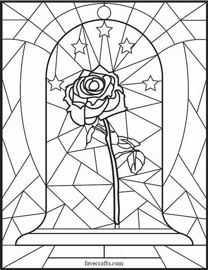 Stained Coloring Glass Rose Pages Adult Disney