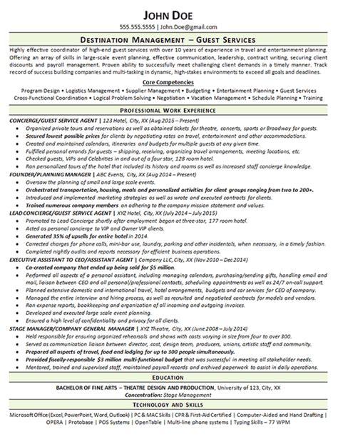 Concierge Resume Sle by Concierge Resume Exle Guest Services