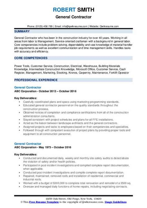 General Resume Format by General Contractor Resume Sles Qwikresume