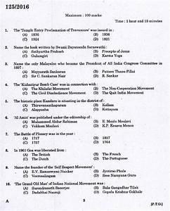 Kerala Psc High School Assistant Social Studies Question Paper Code 1252016