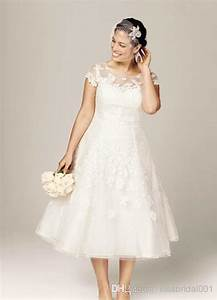 new style cap sleeve ivory lace a line tea length short With plus size short lace wedding dresses