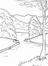 Landscape Pond Sketch Coloring Dvd Pages sketch template