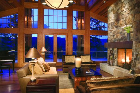 great room rustic living room minneapolis