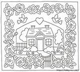 Cottage Embroidery Patterns Coloring Crazy Pages Hand Garden Rose Pattern Quilts Holly Border Hill Designs Rug Landscape Stitch Applique Cottages sketch template