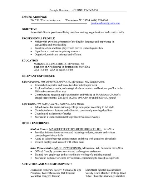 Journalism Resume Exles by Free Major Journalism Sle Resume Templates At