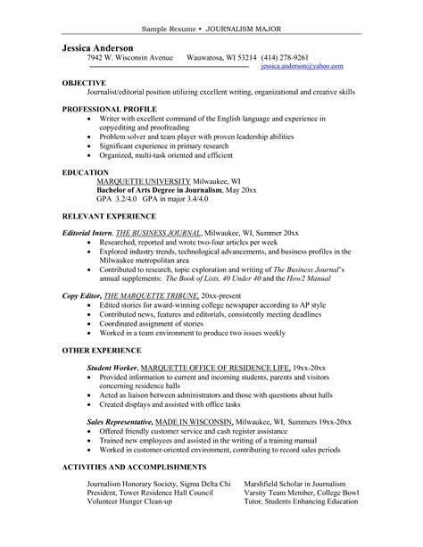 major journalism sample resume templates