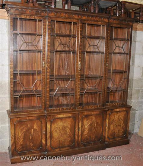 victorian breakfront bookcase shelf unit display cabinet mahogany bookcases