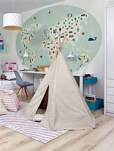 Papier Peint Planisphère : 12 id es de papier peint original pour la chambre de votre enfant des id es ~ Teatrodelosmanantiales.com Idées de Décoration