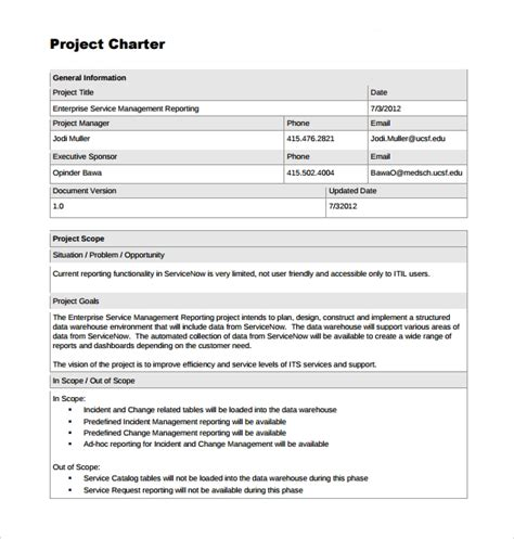 project charter templates   ms word