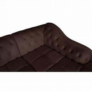Canape Angle Marron : canap d 39 angle droit 5 places marron cuir simili pas cher british d co ~ Teatrodelosmanantiales.com Idées de Décoration