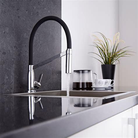mitigeur cuisine escamotable modern monobloc kitchen sink mixer tap chrome black