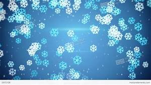 Blue Glowing Snowflakes Falling Loop Background Stock ...