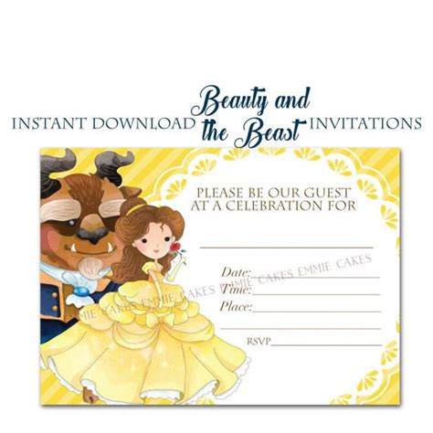 beauty   beast invitation instant  fill