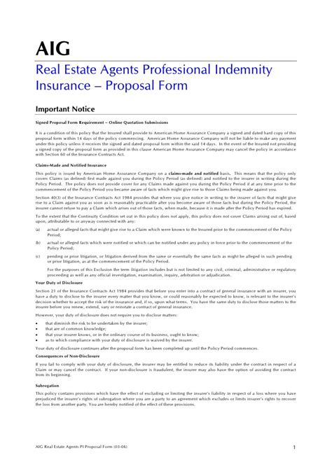 aig real estate agents professional indemnity insurance