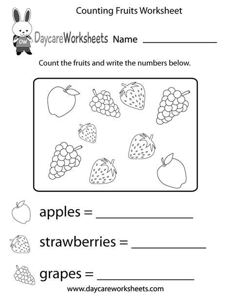 counting fruits worksheet  preschool
