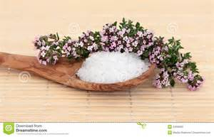 Natural herbal health treatment with thyme herb flowers and sea salt. Natural therapies