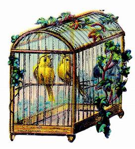 *The Graphics Fairy LLC*: Vintage Clip Art - Canary Bird Cage