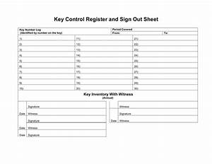 Key control register and sign out sheet in word and pdf for Key register template free