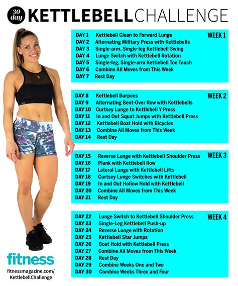 kettlebell workout challenge body total workouts swings exercises calendar cardio push fat month abs swing circuit butt exercise kettle fitness