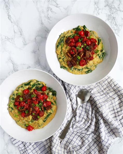 The best vegan cornbread ever! Polenta Corn Grits with Tempeh, Spinach, & Tomatoes Recipe ...