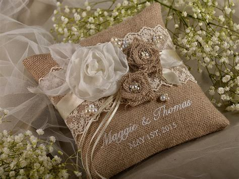 shabby chic ring bearer pillow lace rustic wedding pillow burlap ring bearer pillow burlap ring pillow embroidery names