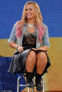 Demi Lovato Almost Flashes Her Underwear As Her Skirt Blows Up During Good Morning America