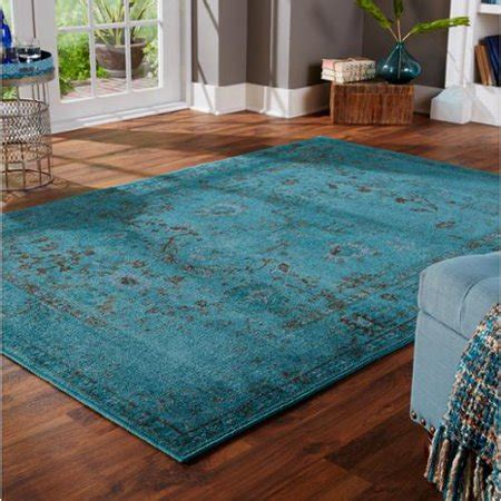 Teal Rug Walmart by Dyed Distressed Traditional Teal Grey Area Rug 9 10