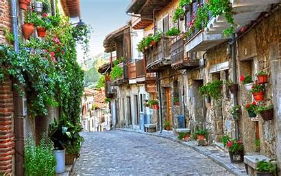 Street European Cobblestone Flower Lovely Background Wallpapers