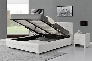 Lit Design Capitonn 140x190 Blanc Avec Coffre De