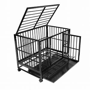heavy duty rolling dog cage crate kennel house with metal With metal dog house