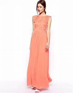 une robe corail pour ma tenue de demoiselle d39honneur With robe longue peche