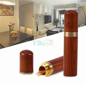 Portable Rosewood Wooden Toothpick Holder Case Capsule Box