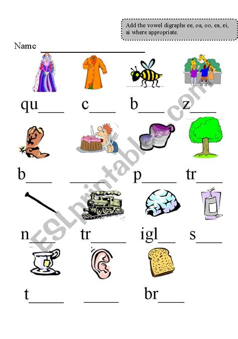 vowel digraph worksheets kidz activities