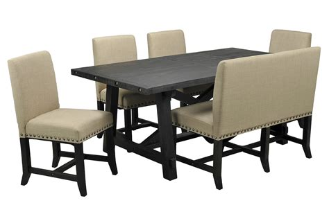jaxon 6 rectangle dining set w bench upholstered