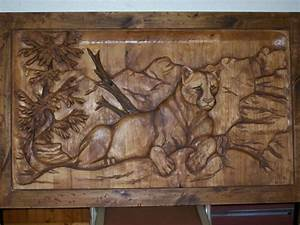Wall art ideas design cougar animal carved wall art for Best brand of paint for kitchen cabinets with hand carved wooden wall art