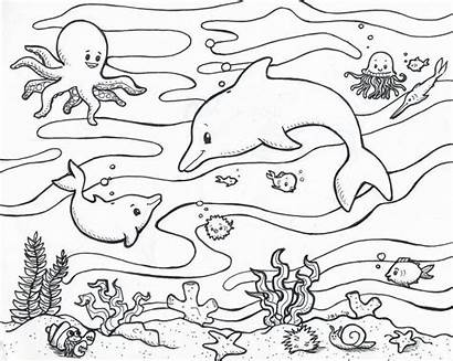Coloring Ocean Pages Waves Beach Popular