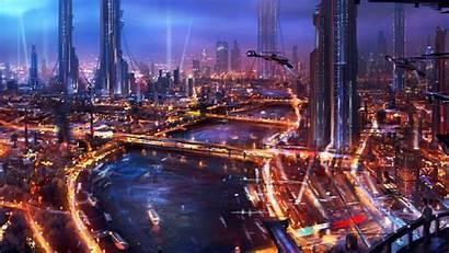 Cyberpunk Futuristic Wallpapers Fantasy Architecture Future Background