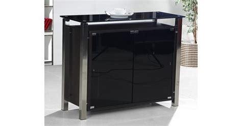 Malvern Black Glass Sideboard With Chrome Frame