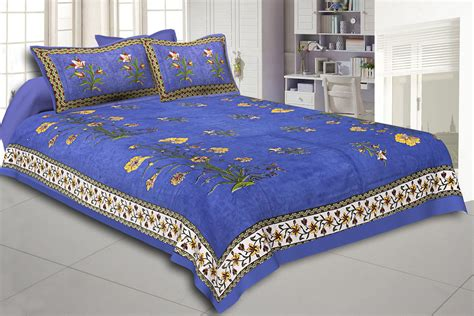 Cotton Bed Sheets by Blue Border Tree Print Blue Base Cotton Bed Sheet