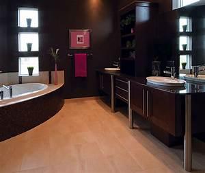 contemporary bathroom cabinets in dark maple finish With kitchen craft bathroom vanities