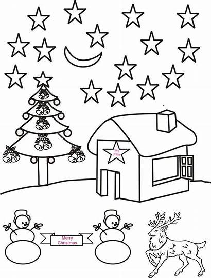 Scenery Coloring Pages Christmas Drawing Fall Night