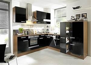 Schwarze Hochglanz Küche : hausmarke musterk che moderne l k che mit schwarzen hochgl nzenden fronten abgesetzt mit franz ~ Sanjose-hotels-ca.com Haus und Dekorationen