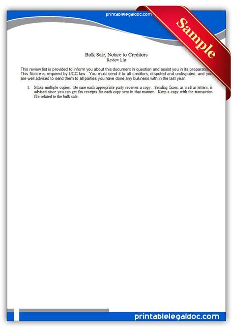 printable bulk sale notice  creditors form generic