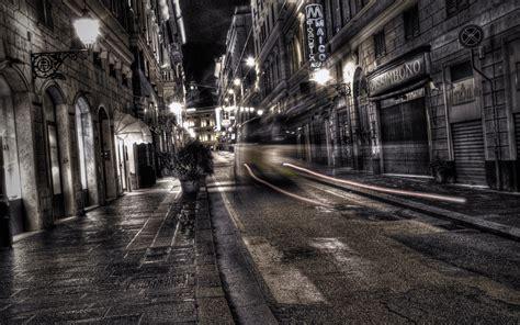 wallpaper city black white road street night