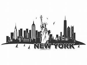 New York Schriftzug : wandtattoo skyline new york mit freiheitstatue ~ Frokenaadalensverden.com Haus und Dekorationen