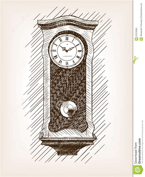 clock  pendulum hand drawn sketch vector stock