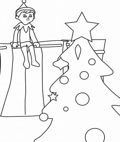 Coloring Christmas Elf Shelf Pages Printable Printables
