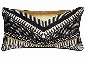 accent pillow nico chevron black gold 14x26 living spaces With black white and gold decorative pillows