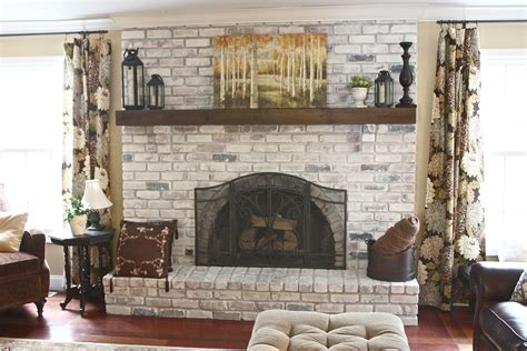 yellow cape  white washed brick fireplacetutorial
